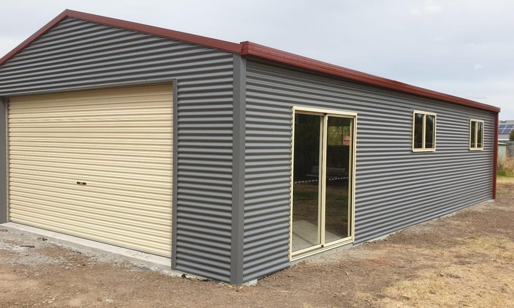 Shed with roller door and windows