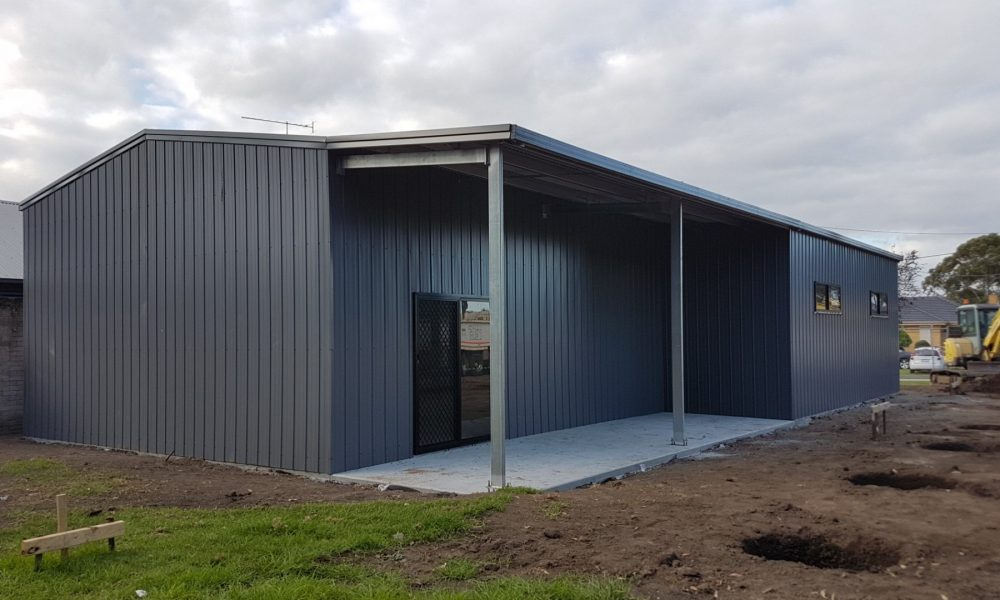 Large shed with open awning