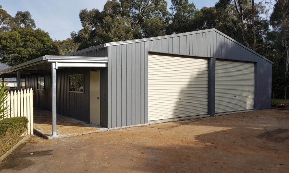 2-door shed with open awning